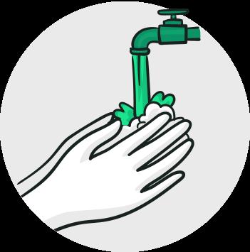 Lave as mãos frequentemente e use álcool 70% em gel
